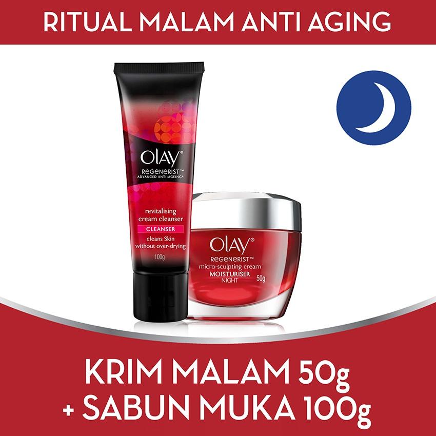 Jual Best Offer Olay Ritual Malam Anti Aging Free Cleanser Antik